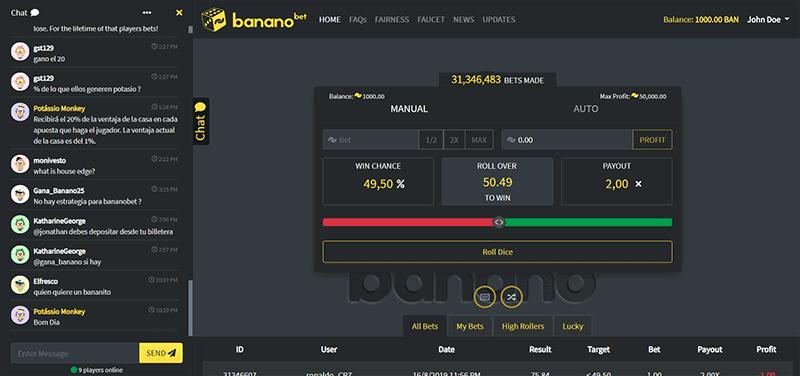 Tampilan Situs BananoBet, Tempat Mendapatkan Banano Gratis